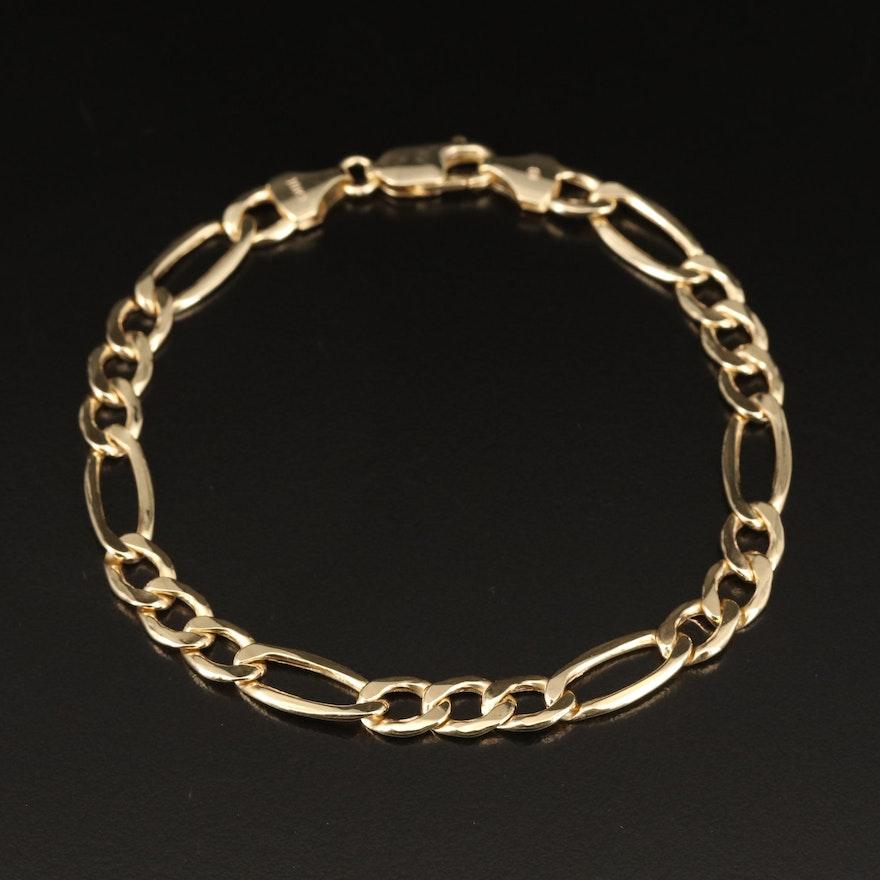 10K Figaro Link Bracelet