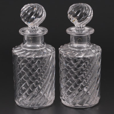 Pair of Swirl Crystal Dresser Bottles, Late 19th to Early 20th Century