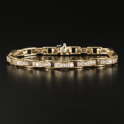 14K Channel Set 3.00 CTW Diamond Link Bracelet