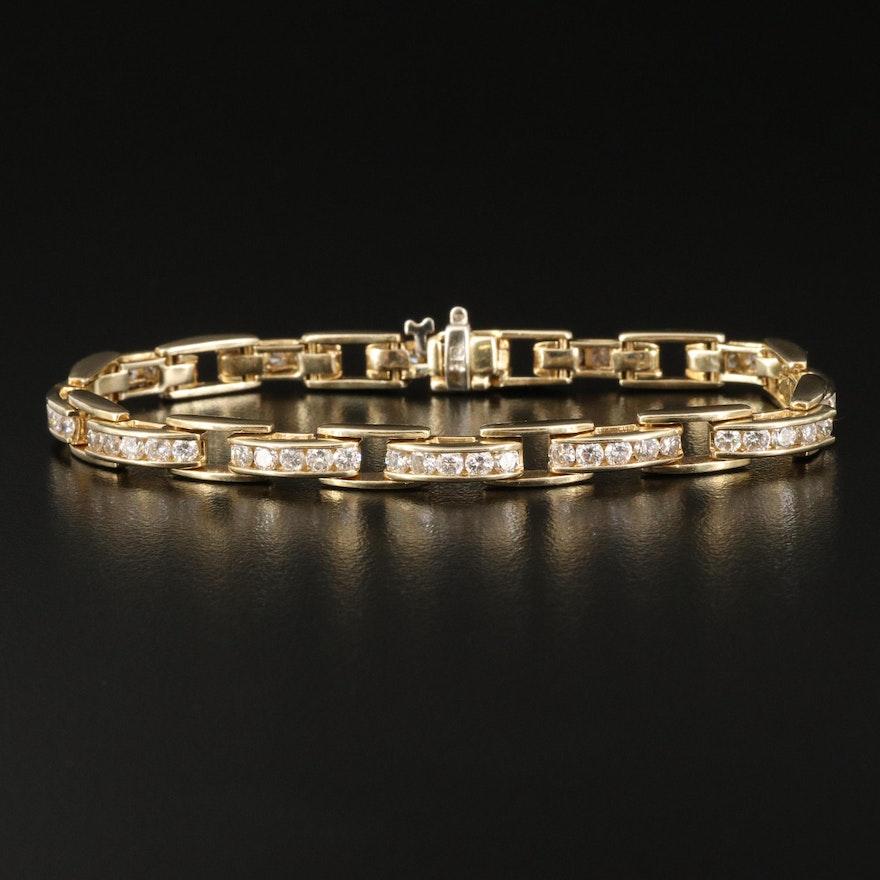 14K Channel Set 3.00 CTW Diamond Link Bracelet