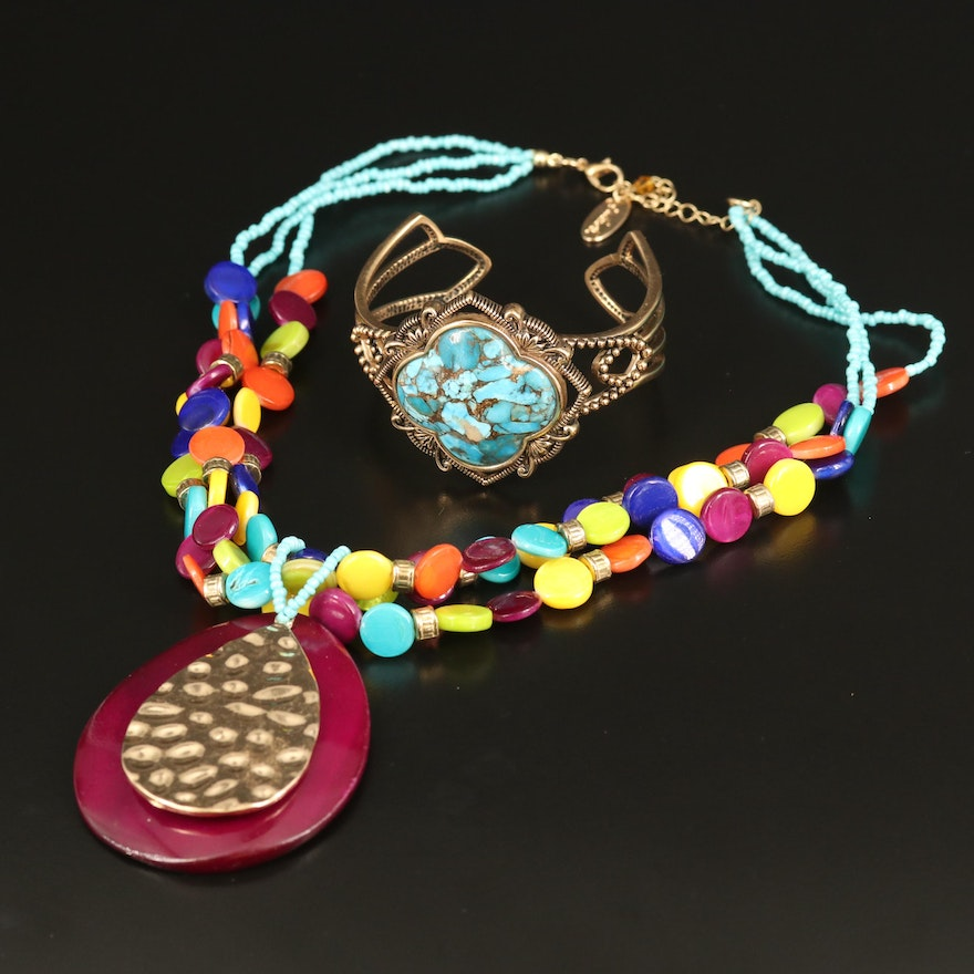 Barse Shell and Turquoise Cuff with Jules B Necklace
