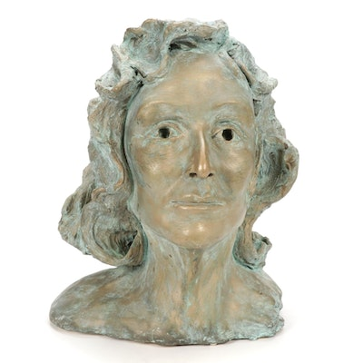 Barbara Sweney Ceramic Portrait Bust Sculpture, 1998