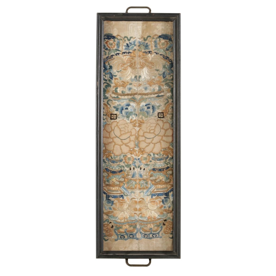 Chinese Handmade Embroidered Floral Silk Panels, Early 20th Century