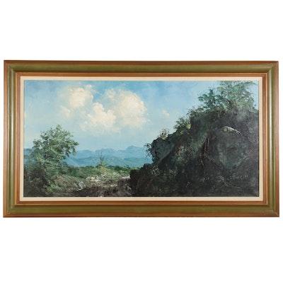 Segundo Huertas Landscape Oil Painting of South American Mountains