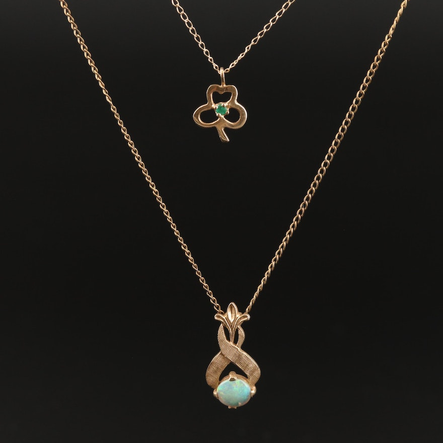 Vintage 14K Opal and Emerald Pendant Necklace Featuring Three Leaf Clover