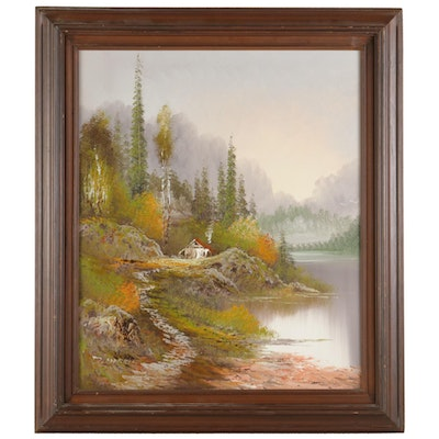 Landscape Oil Painting of Lakeside Forest Cottage, Late 20th Century