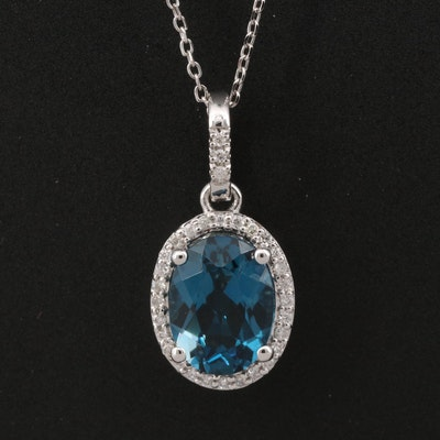 14K London Blue Topaz and Diamond Halo Pendant Necklace