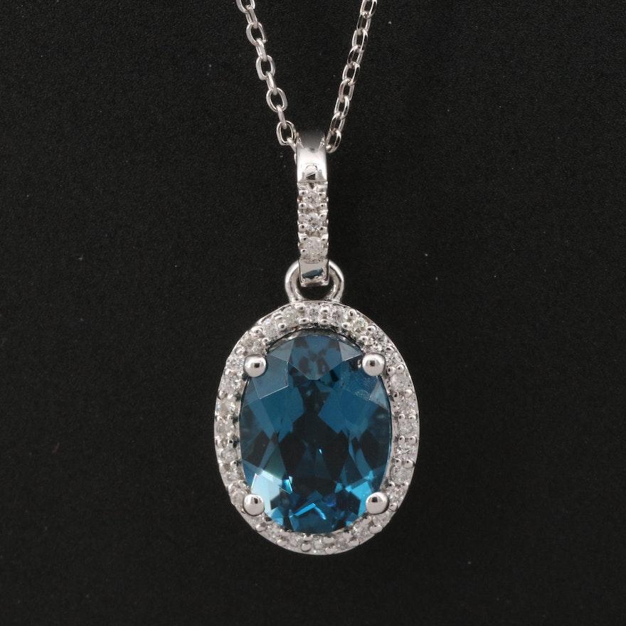 14K London Blue Topaz and Diamond Halo Pendant Necklace