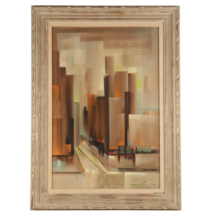 """Ozz França Abstract Oil Painting """"Skyscrapers,"""" 1964"""