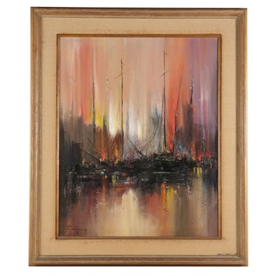 "Ozz França Impasto Oil Painting ""Sunset Harbor,"" Mid to Late 20th Century"