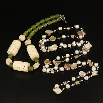 Necklaces Including Carved Serpentine, Cultured and Faux Pearl