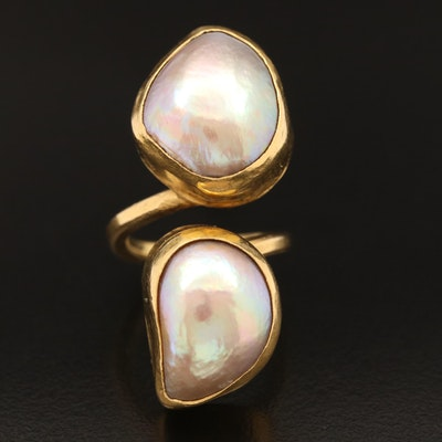 18K 17.00 mm Pearl Bypass Ring