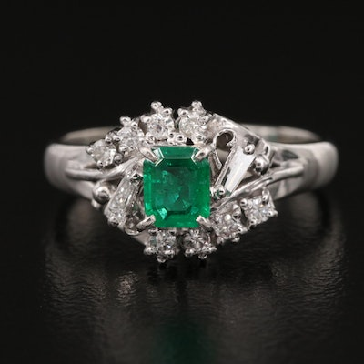 Platinum Emerald and Diamond Ring