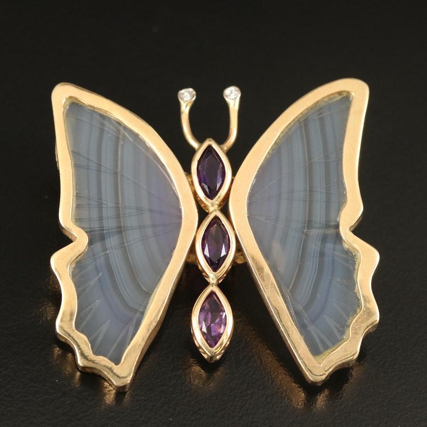 14K Diamond, Fluorite and Amethyst Butterfly Pendant