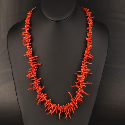 Sterling Branch Coral Graduated Necklace