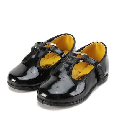 Children's School Chums Black Faux Patent Leather T-Strap Shoes