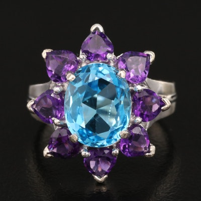 14K Topaz and Amethyst Flower Ring