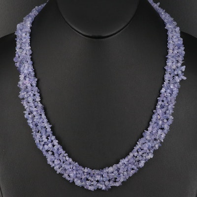 Tumbled Tanzanite Beaded Necklace with Sterling Clasp