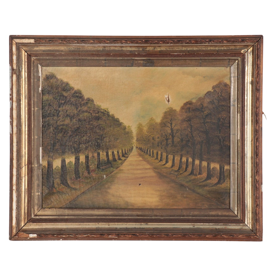 Howard Oil Painting of Tree-Lined Path, 19th Century