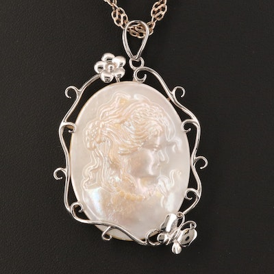Italian Sterling Mother of Pearl Cameo Pendant Necklace