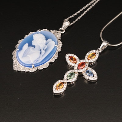 Sterling Angel and Cross Necklaces Including Agate, Sapphire and White Zircon
