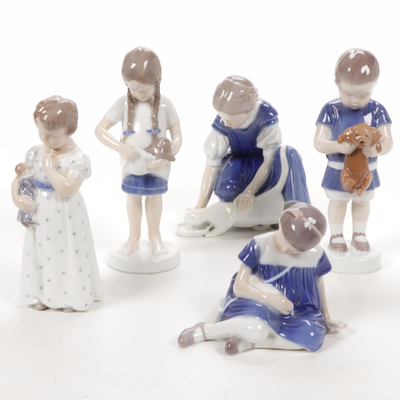 Royal Copenhage Girl with Doll and Other Bing & Grøndahl Porcelain Figurines