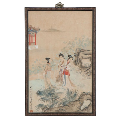 Chinese Gouache Painting of Women in Garden