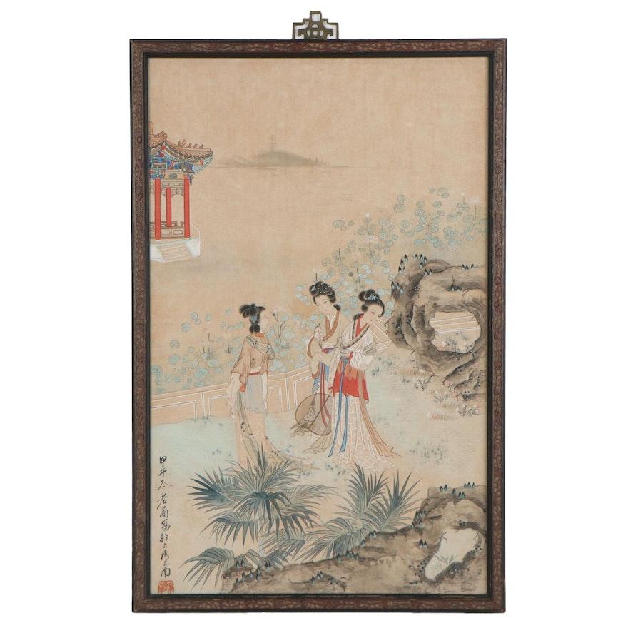 Chinese Gouache Painting of Women in Garden