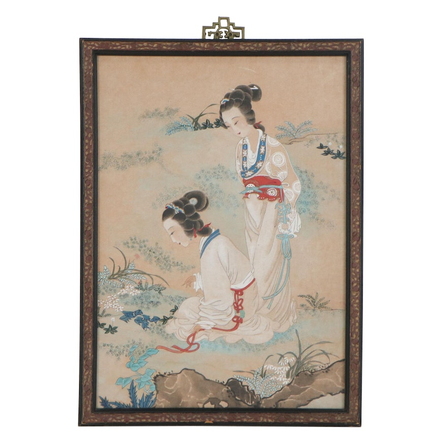 Chinese Gouache Painting of Two Women