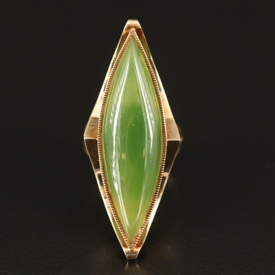 1960s 14K Nephrite Elongated Navette Ring