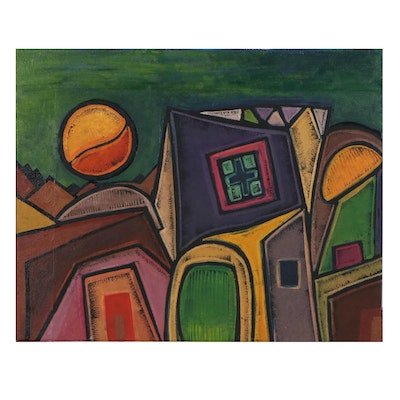 "Lanre Ayuba Acrylic Painting ""Village at Night,"" 2018"
