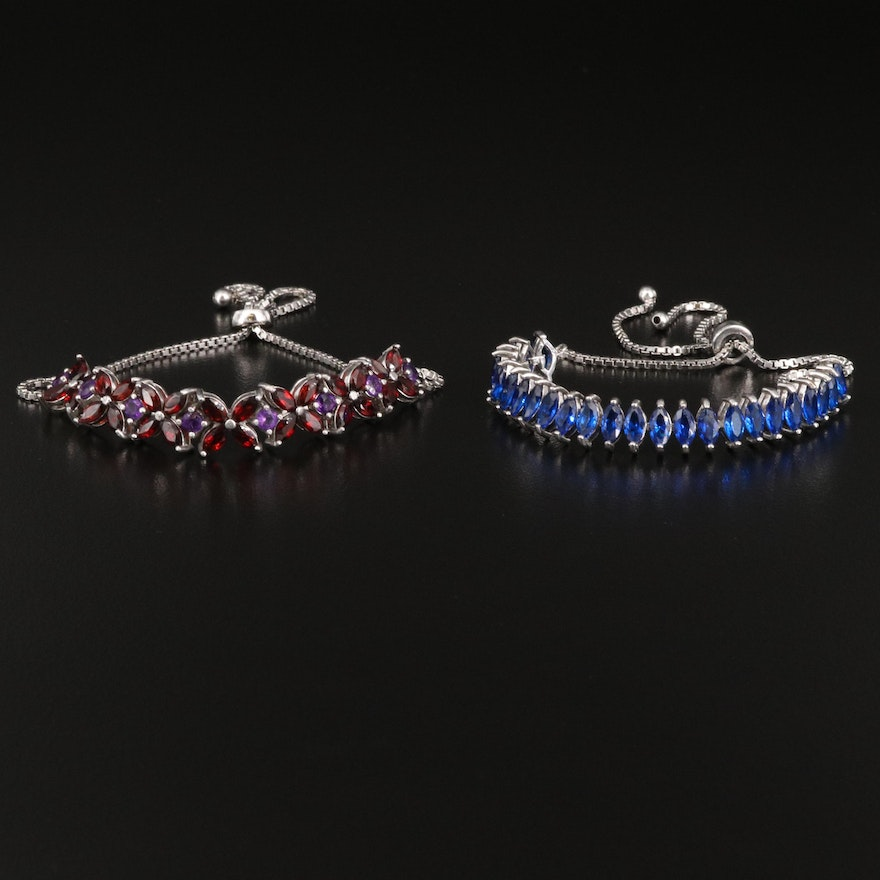 Sterling Bolo Bracelets Featuring Spinels, Amethysts and Garnets