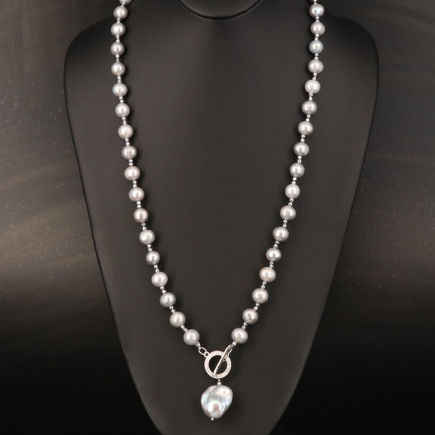 Pearl Beaded Necklace with Sterling Cubic Zirconia Clasp
