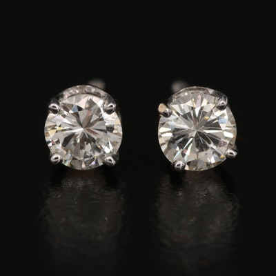 14K 0.76 CTW Diamond Stud Earrings with 18K Posts and Clutches