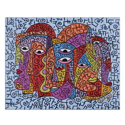 "Lanre Buraimoh Acrylic Painting ""Creative Mind"""