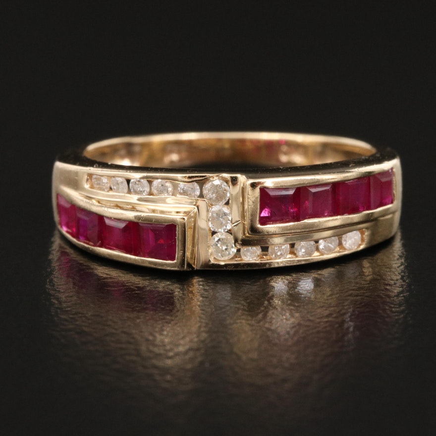 14K Channel Set Ruby and Diamond Band