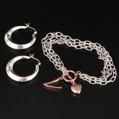 Sterling Multi-Strand Chain Bracelet and Knife Edge Hoop Earrings