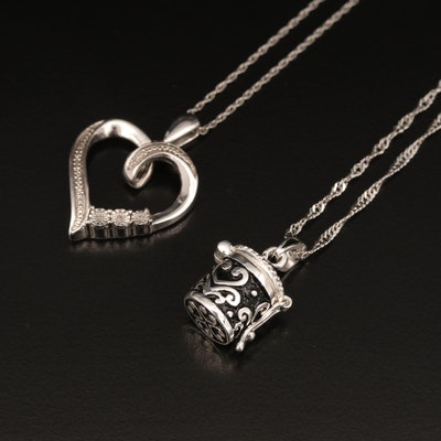 Sterling Diamond Heart and Tanzanite in Basket Necklaces
