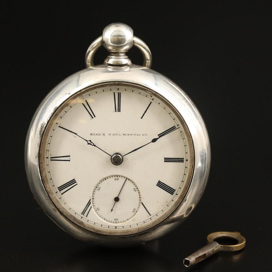 1885 Elgin Coin Silver Open Face Pocket Watch