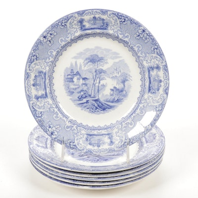 "English J.W. Pankhurst & Co. ""Lucerne"" Blue Transferware  Ironstone Plates"