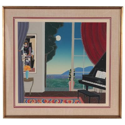 "Thomas McKnight Serigraph ""Music Room,"" 1982"