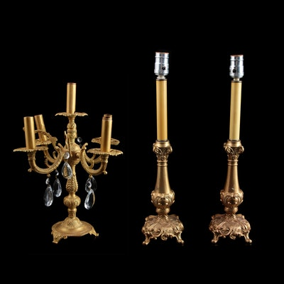 Baroque Style Metal and Crystal Candelabra Lamp with Glass Candlestick Lamps