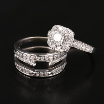 14K Diamond Ring and Jacket Set with 1.50 CTW Side Diamonds