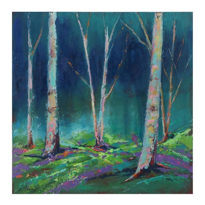 "Rebecca Manns Acrylic Painting ""Dreaming of Birch Trees,"" 2021"