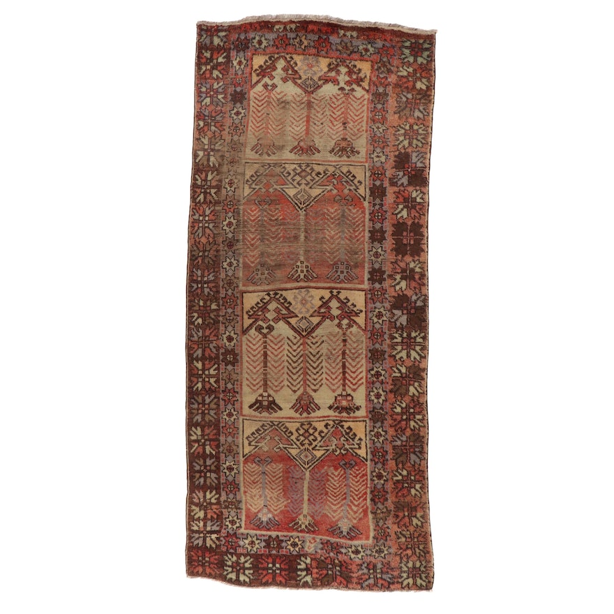 4'10 x 11'4 Hand-Knotted Turkish Village Long Rug, 1930s