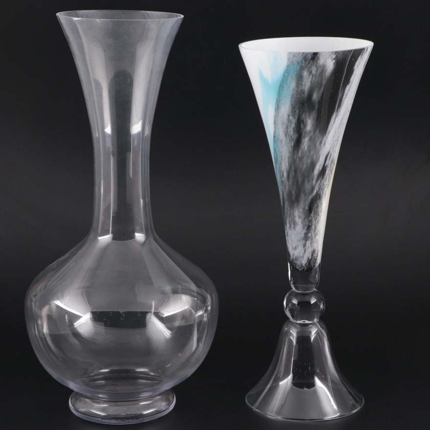 Polish Cased Glass Trumpet Vase and Other Clear Glass Floor Vase