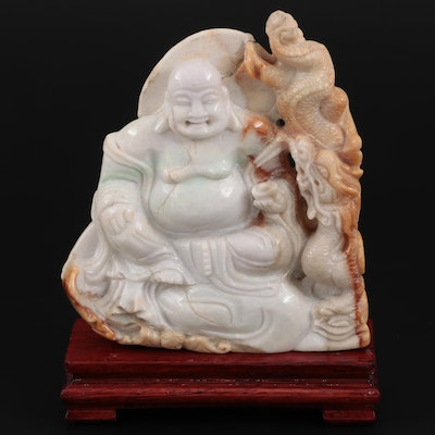 Chinese Carved Jadeite Budai and Dragon Figurine