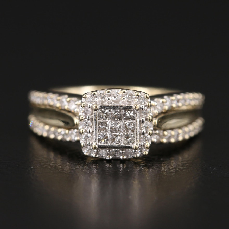 10K Diamond Halo Ring
