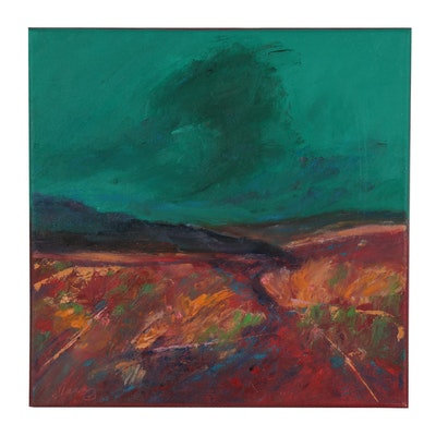 "Rebecca Manns Oil Painting ""Red Desert Rain Cloud,"" 2021"