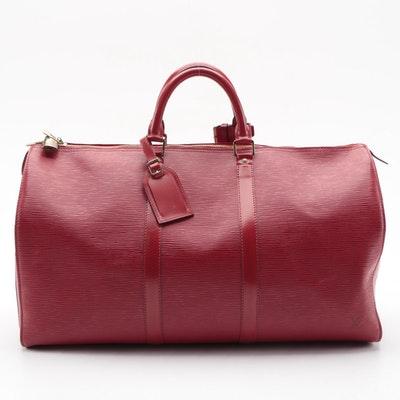 Louis Vuitton Keepall 50 Duffel Bag in Castilian Red Epi and Smooth Leather